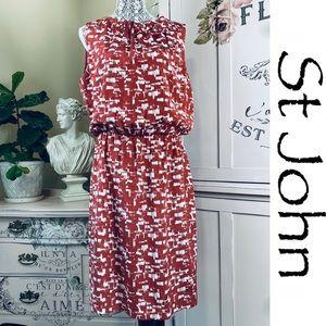 ST JOHN Silk Print Midi Dress size 12
